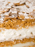 Cake almond with whipped cream and cream Royalty Free Stock Photos