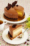 Cake with amaretto mousse and coffee. Stock Photography