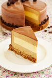 Cake with amaretto mousse and coffee. Stock Photos