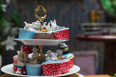 Cake animal cute afternoon tea. With dessert on wooden tabl Royalty Free Stock Image