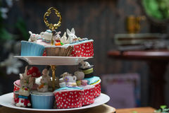Cake animal cute afternoon tea. With dessert on wooden tabl Stock Photography