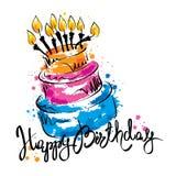 Cake ans Happy Birthday Stock Photo