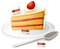 Cake and ants Royalty Free Stock Photography