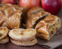 Cake with Apple filling and pastry with apples stock photo