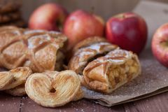 Cake with Apple filling and pastry with apples royalty free stock photo