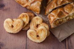 Cake with Apple filling and pastry in the shape of a heart royalty free stock photos