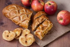 Cake with Apple filling and pastry in the shape of a heart with apples stock photography