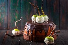 Cake with apples. Cake with chocolate icing and green apples Stock Photography