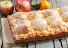 Cake with apples and tangerines Stock Photos
