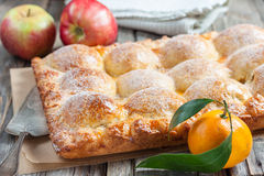Cake with apples and tangerines Royalty Free Stock Photo