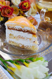 Cake with apricot and tea Stock Photos
