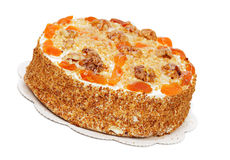 Cake with Apricot and Walnuts Stock Images