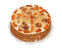 Cake with Apricot and Walnuts Royalty Free Stock Images