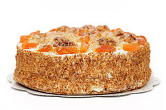 Cake with Apricot and Walnuts Stock Photo