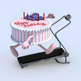 Cake with arms and legs on running machine Royalty Free Stock Image