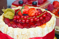 Cake. Awesome cake with forest fruts royalty free stock photo