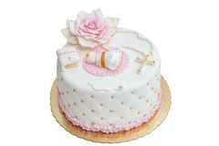 Cake for baby`s baptism. Stock Photography
