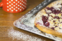 Cake baked with fruit and cottage cheese Royalty Free Stock Photo