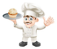 Cake baker. Illustration of a chef or baker with a cake on a plate Stock Photo