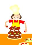 Cake Baker. Young cake baker in the kitchen decoration birthday cake royalty free illustration