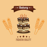 Cake bakery related emblem image Royalty Free Stock Photography