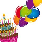 Cake with balloons Royalty Free Stock Photography