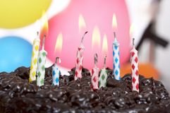 Cake and balloons Stock Image