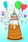 Cake with balloons. Chocolate cake with cream. Balloons. Birthday Royalty Free Stock Photos