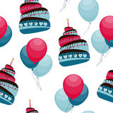 Cake and Balloons Holiday Seamless Pattern Royalty Free Stock Images