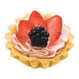 Cake basket with cream and berries, isolated Stock Images