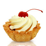 Cake basket with cream and cherry Royalty Free Stock Photos