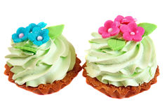 Cake basket decorated with light green cream and pink flowers fr Royalty Free Stock Photos