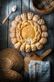 Cake with basket on wooden background, picture for bakery or shop Stock Photos