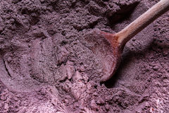 Cake batter - cocoa mass. Raw materials working together. Mixing dough. Cake-making Royalty Free Stock Photography