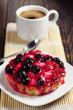 Cake with berries and coffee Stock Image