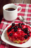Cake with berries and coffee Royalty Free Stock Photo