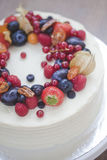 Cake with berries. Cake decorated with fresh summer berries Stock Image