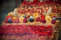 Cake with berries. fruits sweet food. Raspberry Cake for holidays with fruits royalty free stock photo