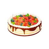 Cake with berries and fruits on a white background. Vector illustration of baking. Isolated vector illustration on white background Royalty Free Stock Images