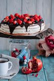Chocolate cake with berries and mint on the stand royalty free stock photography