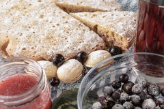 Cake with berries on a plate, closeup stock images