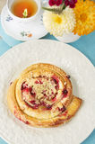 Cake with berry on garden tea table, top view Stock Images