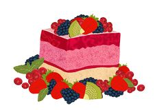 Cake with berry jelly, vector drawing, painted dessert. A piece of marmalade fruit cake decorated with many different berries, iso. Lated on white vector illustration