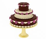 Cake. Big cake with roses, gold dish and chocolate Royalty Free Stock Photos