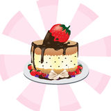 Cake with big strawberry , chocolate ,cherries and berries on the white dish Royalty Free Stock Image