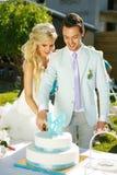 Cake bij het huwelijk Royalty-vrije Stock Afbeeldingen