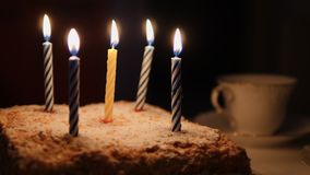 Cake for birthday and burning candles stock video