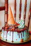 Cake: Birthday Cake With Candles For 2nd Birthday.  Stock Photography