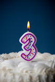 Cake: Birthday Cake With Candles For 3rd Birthday Royalty Free Stock Photo