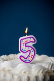 Cake: Birthday Cake With Candles For 5th Birthday Royalty Free Stock Photography